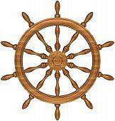 Steering Wheel Of A Ship Sailing.