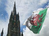 St. John´s Church Tower And Scotland Flag. Edinburgh. Uk
