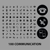 100 communication, connection, network, internet, icons, signs, illustrations set, vector
