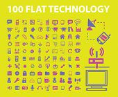 100 flat, business, infographics, technology icons, signs, illustrations set, vector