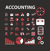 accounting, consulting, banking icons, signs, illustrations set, vector