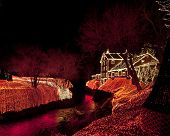 CLIFTON, OHIO - DECEMBER 12, 2014:  Clifton Mill is adorned with 3.5 million festive Christmas lights.  Located in Clifton, Ohio, this is a premiere attraction in the midwestern United States.