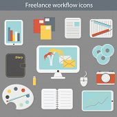 Vector illustration with freelance workflow icons