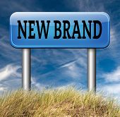 new brand or label product promotion and marketing sign