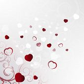 Valentines day background with red hearts and floral pattern