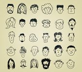 collection of different doodled character heads in various expressions