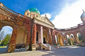image of empty tomb  - Monumental arcades of Mirogoy cemetary of Zagreb Croatia - JPG