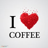 i love coffee heart sign.