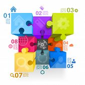 stock photo of puzzle  - Puzzle infographics 3d art cube - JPG