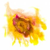 spot yellow watercolor blotch texture isolated on a white backgr
