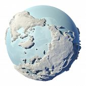 stock photo of north-pole  - Winter earth isolated on white background - JPG