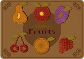 Retro fruits on dotted background -cherry, pear, apple, plum, lemon slice, strawberry with text