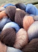 image of alpaca  - Alpaca wool and mohair wool on a wooden board - JPG