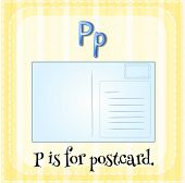 Illustration of a letter P is for postcard