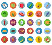 Set of food icons in flat design with long shadows