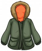 Illustration of a close up parka jacket