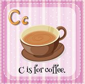 Illustration of a letter C is for coffee