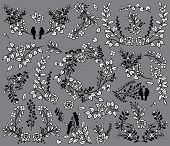 Valentine's Day or Wedding Themed Laurel and Floral Vector Collection