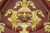 Facade decoration detail of Wat Khunaram temple in Koh Samui, Thailand.