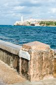 The castle of El Morro and the Malecon wall, two symbols of the city of Havana