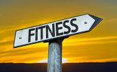 Fitness sign with a sunset background