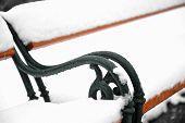 Snowed Park Bench