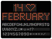 Information led timeboard. Digits and letters vector clip-art. Valentines Day concept