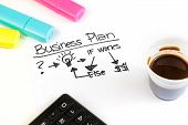 Business Plan Words Near Highlighters, Calculator And Cup Of Coffee, Business Concept
