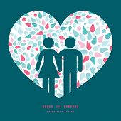 Vector abstract colorful drops couple in love silhouettes frame pattern invitation greeting card tem