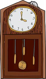 image of nursery rhyme  - Isolated antique grandfather clock with mouse over white - JPG