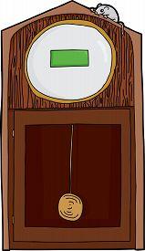 stock photo of nursery rhyme  - Hand drawn cartoon antique clock with blank digital face - JPG