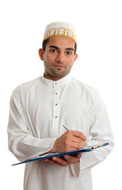 picture of arab man  - Arab mixed race business man wearing traditional middle eastern attire and topi gold embroidered hat - JPG