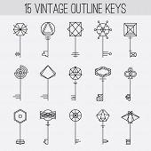 foto of skeleton key  - Vintage outline keys set - JPG