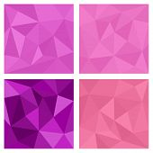 picture of parallelepiped  - Pink and violet triangle vector background or chevron surface pattern set for seamless decoration wallpaper - JPG