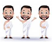 stock photo of muslim man  - Set of Realistic Muslim Man Characters Wearing Ihram Cloths for Performing Hajj or Umrah Pilgrimage in Makkah isolated in White Background - JPG