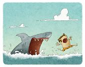 foto of animal teeth  - illustration of a Shark attacking a swimmer - JPG