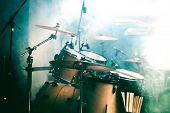 picture of drum-set  - Night life and live music background - JPG