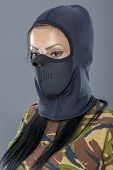 picture of female mask  - Female soldier in camouflage outfit and mask - JPG