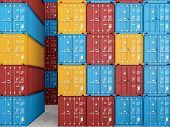 picture of smuggling  - many colorful stacked Containers  - JPG