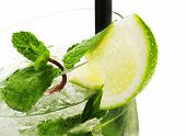 stock photo of mojito  - Single Mojito cocktail isolated on white background - JPG