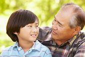 picture of grandfather  - Boy and grandfather outdoors - JPG