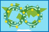 stock photo of trade  - Money circulating all over the world - JPG