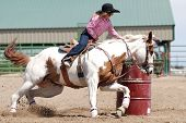 image of barrel racing  - Beautiful painted horse with young cowgirl in a barrel racing competition in a rodeo - JPG