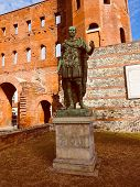 picture of turin  - Vintage looking Palatine towers Porte Palatine ruins of ancient roman town gates in Turin - JPG