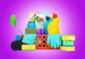 picture of housekeeper  - Cleaning supplies in a basket  - JPG