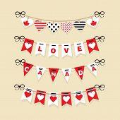 stock photo of canada maple leaf  - Canada Day buntings and festive garlands decoration icons set - JPG