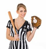 stock photo of baseball bat  - Young Beautiful Referee Wearing Baseball Glove And Holding Baseball Bat - JPG