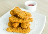 stock photo of southern fried chicken  - Fresh fried chicken on a white plate  - JPG