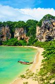 stock photo of long beach  - Amazing Railay Beach with mogotes - JPG