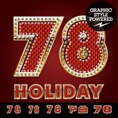 picture of number 7  - Vector luxury chic alphabet of gold and ruby letters - JPG